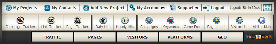 mobile web analytics project menu