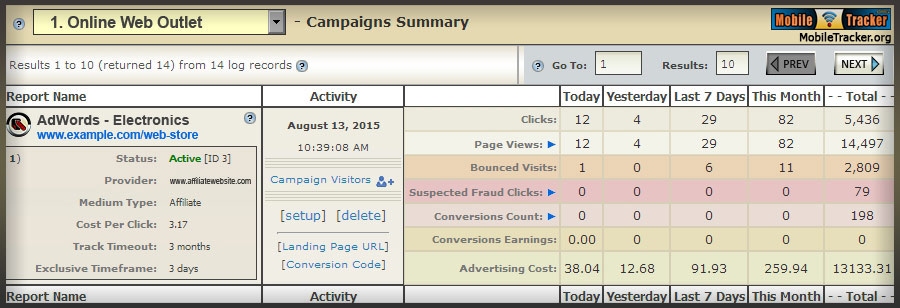 mobile web analytics campaign tracker