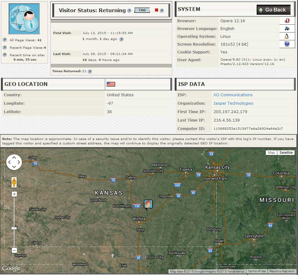 web visit IP details